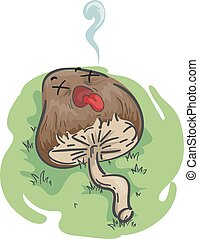 Psychedelic Mushroom Mascot Dead Illustration