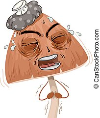 Psychedelic Mushroom Mascot Sick Stomach Ache Illustration