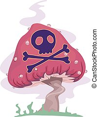 Psychedelic Mushroom Poisonous - Trippy Illustration of a...