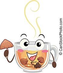 Psychedelic Mushroom Tea Mascot Illustration
