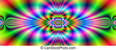 Psychedelic Neon Banner - Digital abstract image with a ...