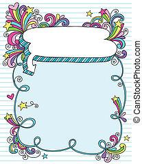 Psychedelic Notebook Frame Doodle