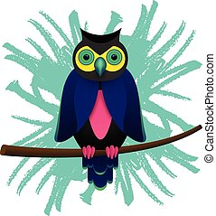 Psychedelic owl on a branch tree isolated on brush background.