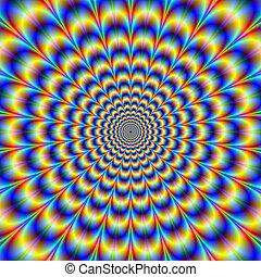 psychedelic, pols, in, blauwe , en, gele