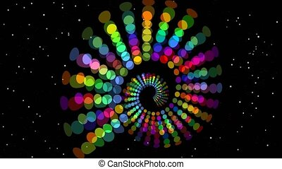 Psychedelic rainbow spiral, multicolored tunnel on black...