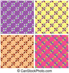psychedelic seamless pattern collection of vector illustration