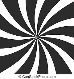 Psychedelic spiral with radial gray rays. Swirl twisted retro background. Comic effect vector illustration