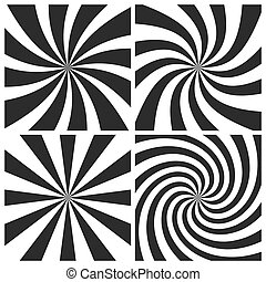 Psychedelic spiral with radial gray rays. Swirl twisted retro background. Comic effect vector illustration set