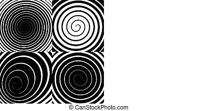 Psychedelic spiral with radial rays, swirl, twisted comic effect, vector set