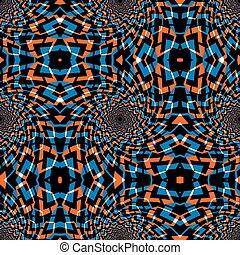 Psychedelic swirls geometric seamless pattern, vector background