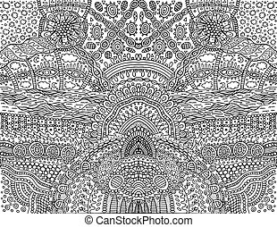Psychedelic tribal outline symmetrical background. Fantastic cartoon doodle ornament. Coloring page for adults. Vector illustration.