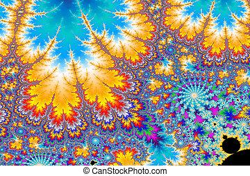 a digitally generated colorful fractal background based on the mandelbrot set