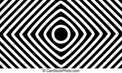 Psychedelic twisting circles. Round striped black white ...