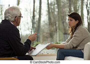 psychiatris, geeft, een, diagnose