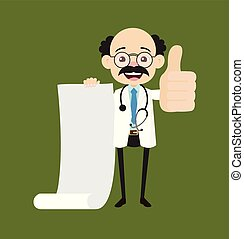 Psychiatrist - Holding a Paper Scroll and Showing Thumbs Up