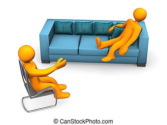 Psychiatrist - Orange cartoon character on the sofa with...