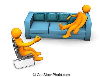 Psychiatrist - Orange cartoon character on the sofa with...