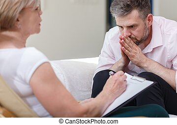 Psychiatrist supporting her patient - Image of psychiatrist...