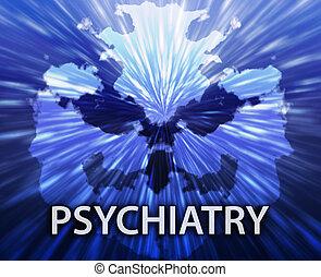 Psychiatry inkblot background - Psychiatric treatment...