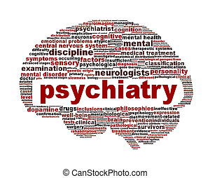 Psychiatry medical symbol isolated on white