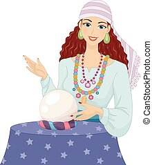 Psychic Girl Gypsy Crystal Ball - Illustration of a Girl in...