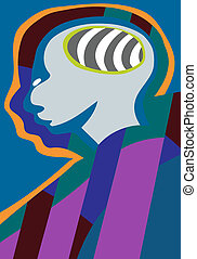Psychic Man - Abstract illustration of human head with brain...