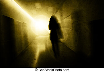 psychic pressure - woman with psychic pressure in a corridor