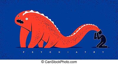psychical, 精神医学, モンスター, 幻覚, 彼の, そのような物, 恐怖症, 寓意物語, イラスト, 概念, 精神病, 精神分裂症, ベクトル, 問題, 平ら, 最新流行である, head., スタイル, 人, 心理学