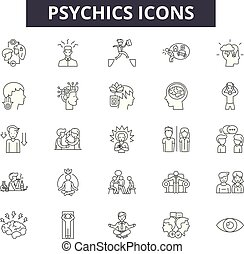 Psychics line icons, signs set, vector. Psychics outline concept, illustration: psychic, deelement, isolated