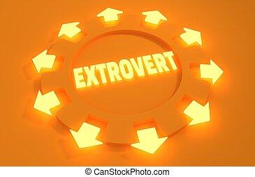 psychlogy, character., extrovertido, metáfora