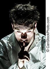 psycho, demander, silence, homme