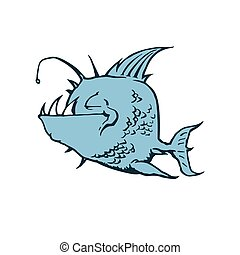 Psycho Fish Piranha. Animal cartoon character Vector...