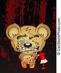 psycho, karakter, cartoon, bjørn, teddy