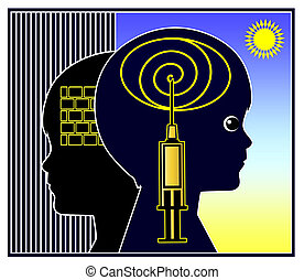 Psychoactive Medication for Kids - Concept sign for...