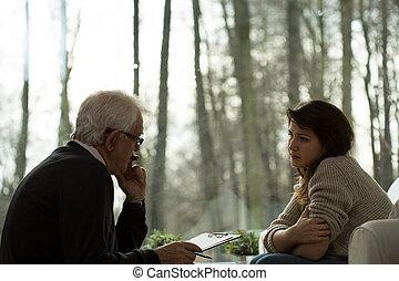 psychoanalytic, sessão, paciente