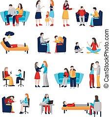 psychologe, satz, familie, charaktere