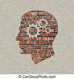 Psychological Concept on the Brick Wall. - Psychological...