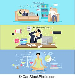Psychological human mental balance. Psychologist and stressfull condition state, mental emotion, psychology health, personality disorder, stress and depression feeling illustration