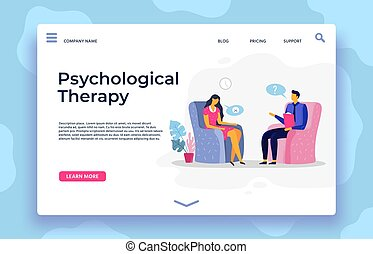 Psychological therapy landing page, depression character and psychotherapist support
