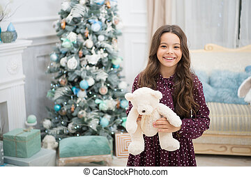 psychologiczny, dziewczyna, mały, zabawka, teddy, concept., ozdoby, ulepszać, gwiazdkowa gierka, toy., wellbeing., niedźwiedź, tło, dziecko, utrzymywać, koźlę, figlarny, dar, drzewo, plusz, mały