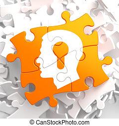 psychologiczny, pomarańcza, pojęcie, puzzle.