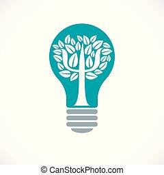 psychologie, arbre, icône, lumière, psychanalyse, mental, ...