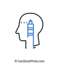 psychologie, cognitif, stratégique, humain, direction, tête, phare, mentor, psychiatrie, pensée, profil, ou, concept