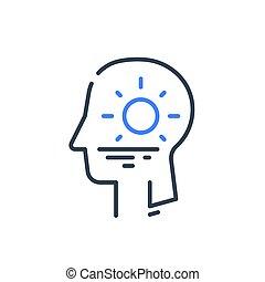 psychologie, kalm, zonopkomst, cognitief, menselijk hoofd, innerlijke , psychiatrie, harmonie, profiel, of, concept