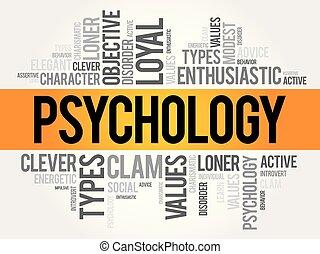 psychologie, wort, wolke, collage
