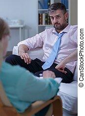 psychologique, homme affaires, avoir besoin, thérapie