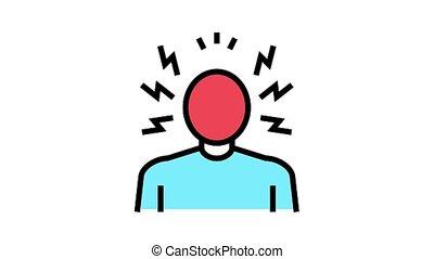 psychologique, problèmes, animation, icône, colère, couleur