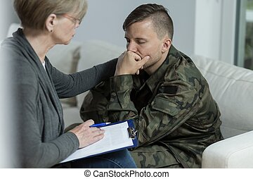 Psychologist and despair soldier