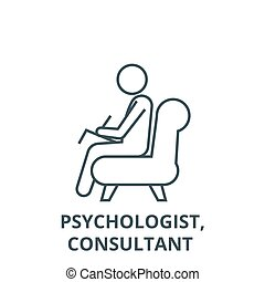 Psychologist, consultant vector line icon, linear concept, ...