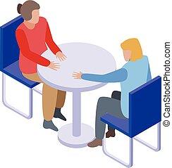 Psychologist consultation icon, isometric style